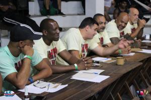Le jury de mestres et mestrandos pendant les spectacles préparés par les instructeurs